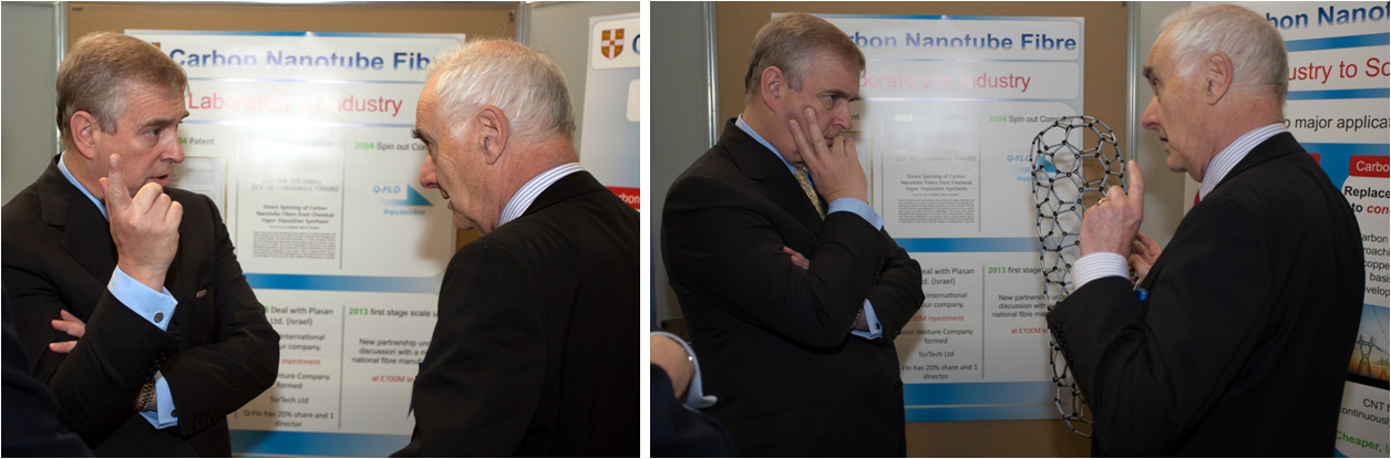 Prof. Windle discussing CNT fibre spinning with HRH The Duke of York.