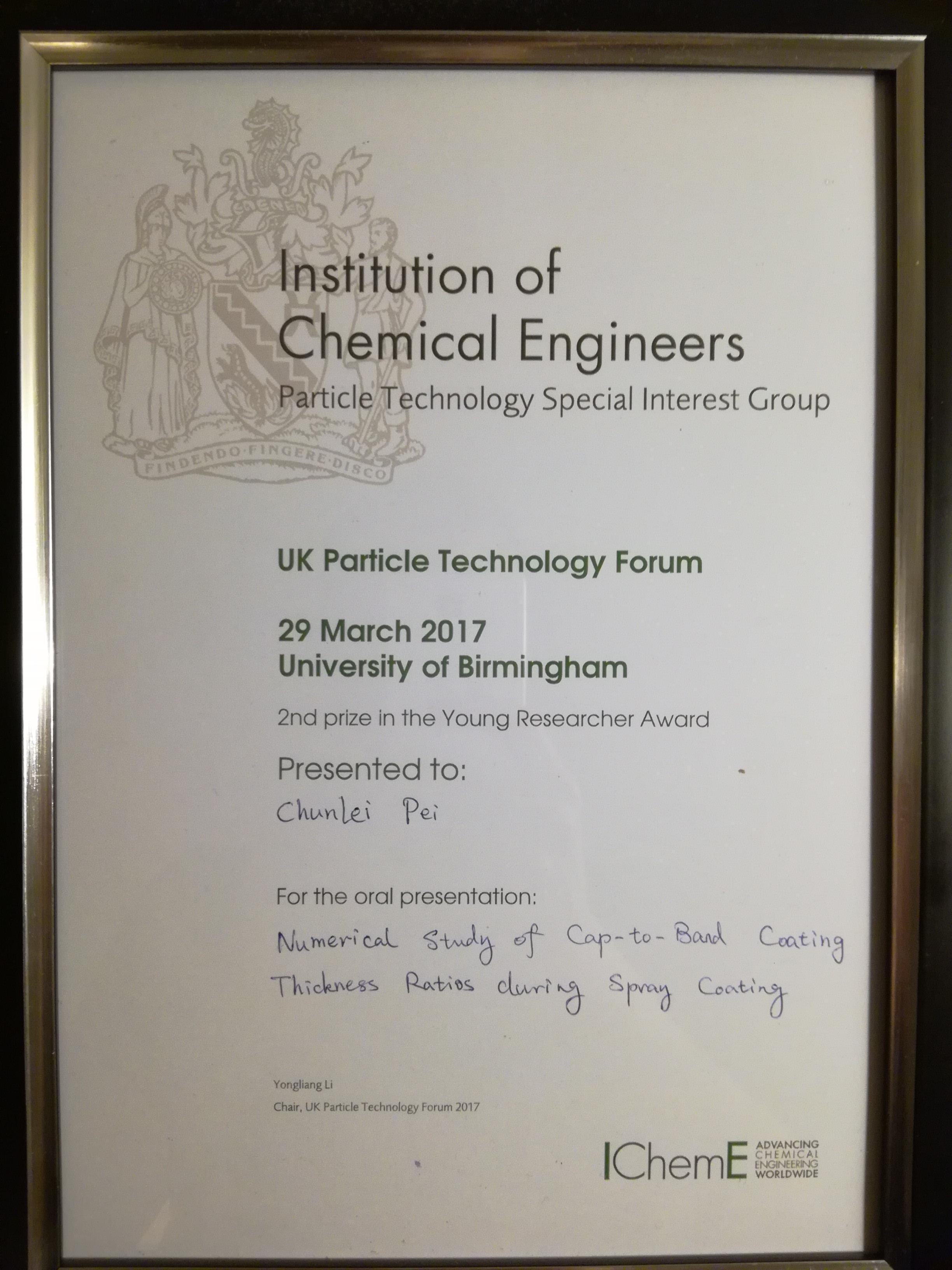 Congratulations to Dr Chunlei Pei