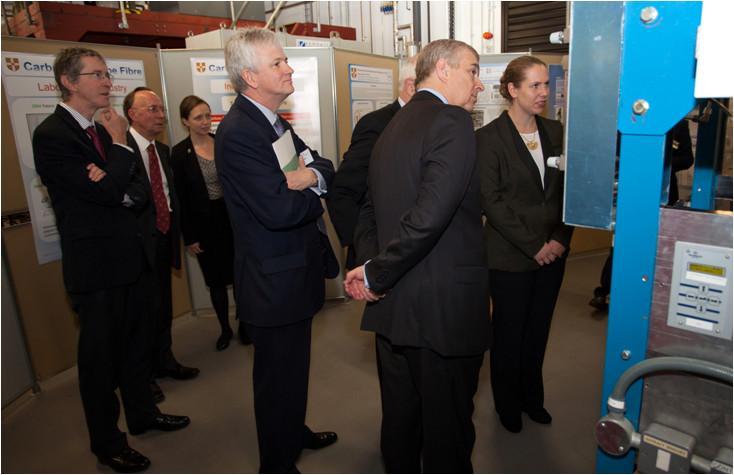"HRH The Duke of York visits carbon nanotube fibre-spinning rig during its ""maiden flight""."